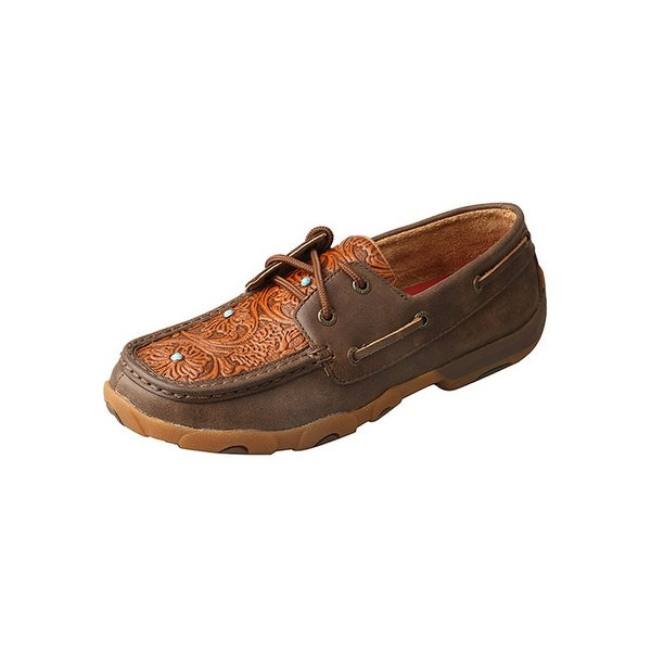 Twisted X Casual Shoes Womens Floral Tooled Leather Mocs Brown