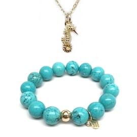 "Turquoise Magnesite 7"" Bracelet & Seahorse Gold Charm Necklace Set"