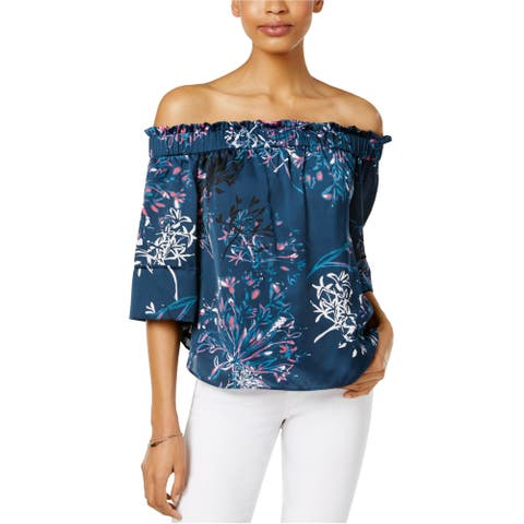 Rachel Roy Womens Shirred Off-The-Shoulder Knit Blouse