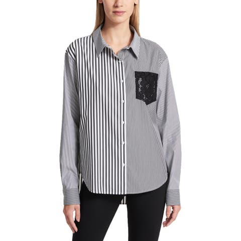 DKNY Womens Button-Down Top Striped Lace