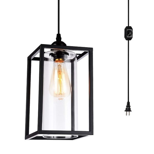 Plug in Hanging Ceiling Lamp Swag Light Pendant Fixture OnOff Switch Clear Glass