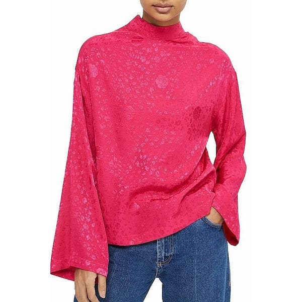 632f40cff36 Shop TopShop NEW Pink Women Size 14 US 10 Floral Kimono Sleeve Mock ...