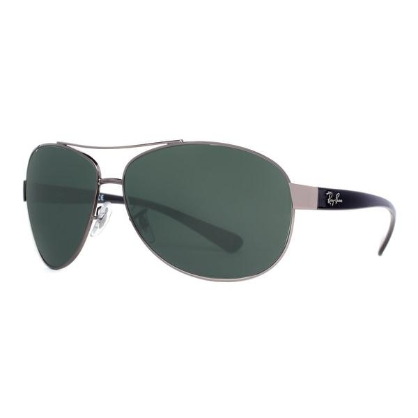 Ray Ban RB 3386 004/71 Gunmetal Black/Green Classic Wrap Aviator Sunglasses 67mm - gunmetal/black - 67mm-13mm-130mm