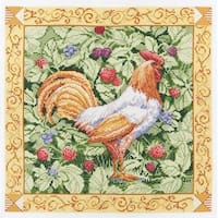 Bucilla Paul Brent Counted Cross Stitch Kit, 12-Inch by 12-Inch, Berry Patch Rooster