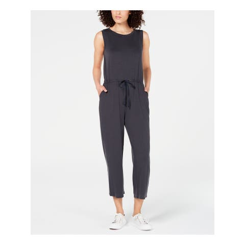 EILEEN FISHER Womens Gray Sleeveless Jewel Neck Jumpsuit Size XL