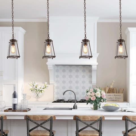 """Mid-century Modern 1-light Seeded Glass Cage Pendents Kitchen Island Lights for Dining Room - W7.5""""xH11"""""""