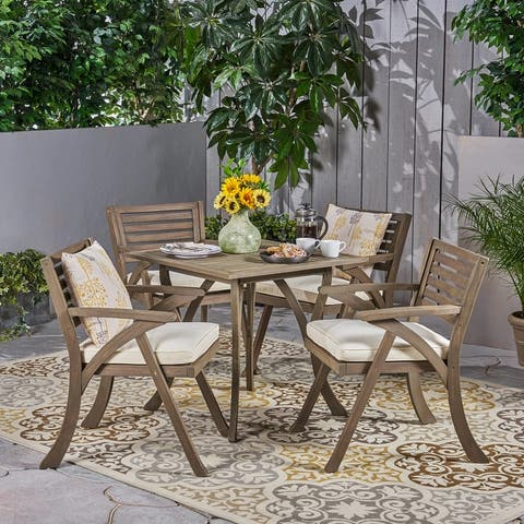 Outdoor Hermosa 5-piece Wood Dining Set by Christopher Knight Home