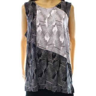 Vince Camuto NEW Black White Women's Size Large L Printed Tank Top