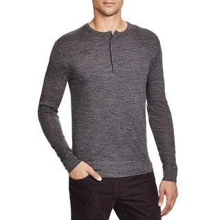 Bloomingdales Mens Merino Wool Henley Sweater Large L Dark Grey 4-button Placket