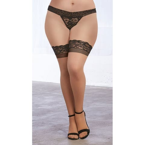 Plus Size Nude Contrast Back Seam Thigh Highs - Nude/Black - One Size Fits Most Queen