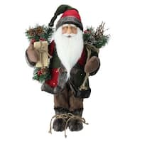 "16"" Country Rustic Standing Santa Claus Christmas Figure with Knitted Snowflake Jacket - green"