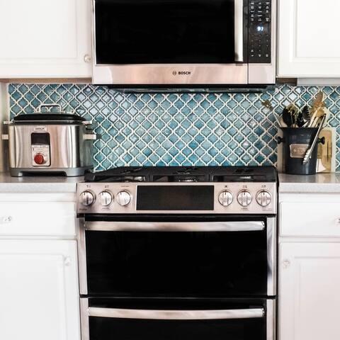 "SomerTile Hudson Tangier Marine 12.38"" x 12.5"" Porcelain Mosaic Tile"