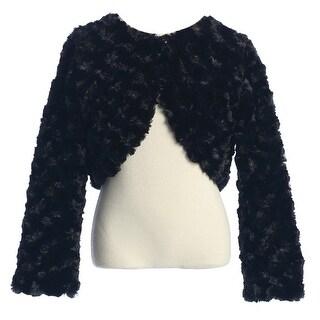 Baby Girls Black Rosette Long Sleeve Faux Fur Elegant Jacket 6-24M