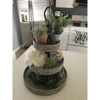 Kate and Laurel Woodmont 3 Tiered Wood Tray