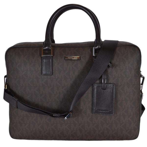 0df625c4eafc Shop Michael Kors Men s Brown Coated Canvas Logo Jet Set Briefcase ...