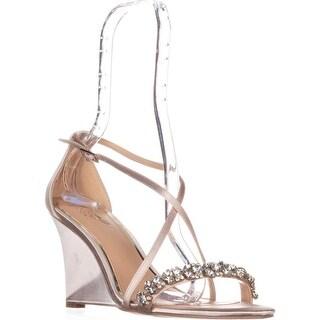 Jewel Badgley Mischka Little Wedge Sandals, Champagne