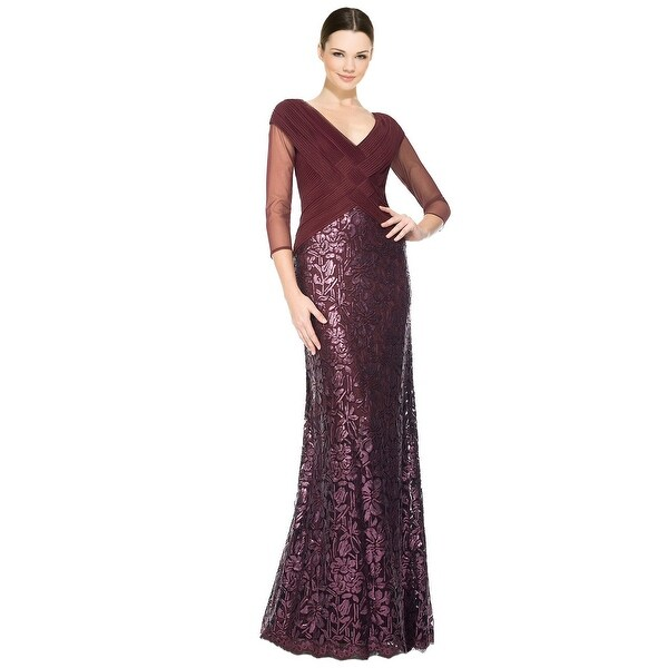 Tadashi Shoji Ruched Tulle Woven Bodice 3 4 Sleeve Evening Gown Dress