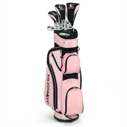 10 Pcs Womens Complete Golf Club Set with Alloy Driver - Pink - Pink