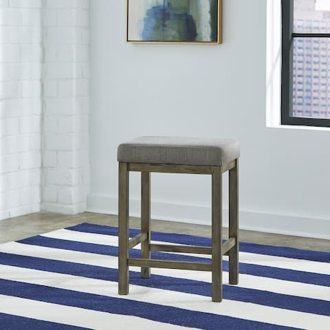 Hayden Way Grey Wash Upholstered Console Stool