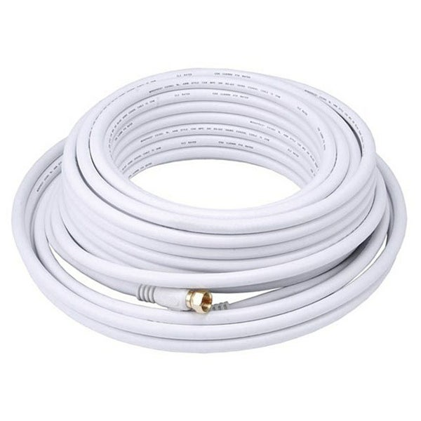 Monoprice 50ft RG6 (18AWG) 75Ohm, Quad Shield, CL2 Coaxial Cable with F Type Connector - White
