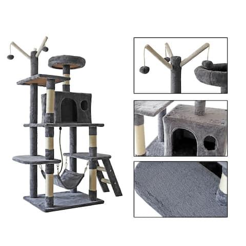 confote 62'' Multi-Level Cat Tree Activity Tower Condo Top Perch