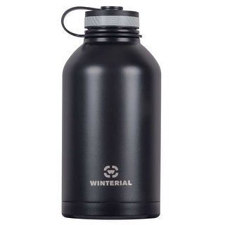 Winterial 64 oz Insulated Steel Water Bottle and Beer Growler. Double Walled Thermos Flask