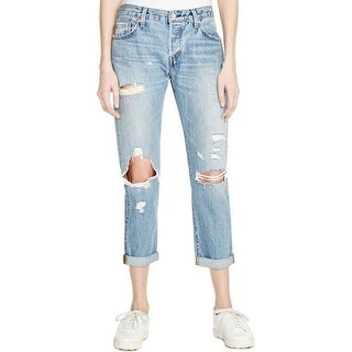Levi's Womens 501 CT Cropped Jeans Destroyed Frayed Hem