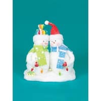 "9.5"" Cupcake Heaven Fluffy Snowmen with Light Strand Christmas Table Figure"