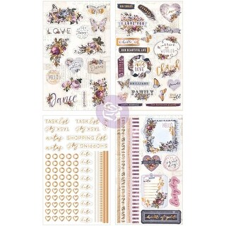 """Icon & Journal Accents W/Rose Gold Foil - Lavender Cardstock Stickers 4""""X7"""" 4/Pkg"""