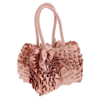 Scheilan Rose Fabric Ruffled Top Handle Bag