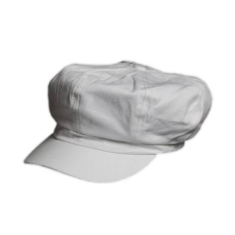 Cotton Elastic Newsboy Cap - White