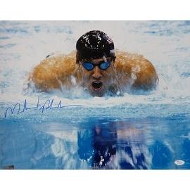 Michael Phelps Autographed 2008 Beijing Olympics 16x20 Photo Close Up JSA