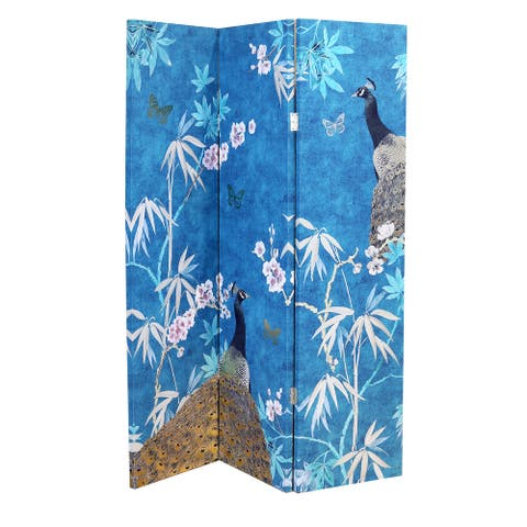 Arthouse 3-Panel Peacock Printed Canvas Room Divider