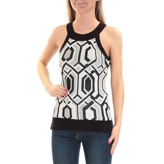 Womens Silver Black Geometric Sleeveless Jewel Neck Sweater Size XS