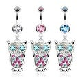Owl with Multi Colored Gems Dangle Navel Belly Button Ring 316L Surgical Steel (Sold Ind.) - Thumbnail 0