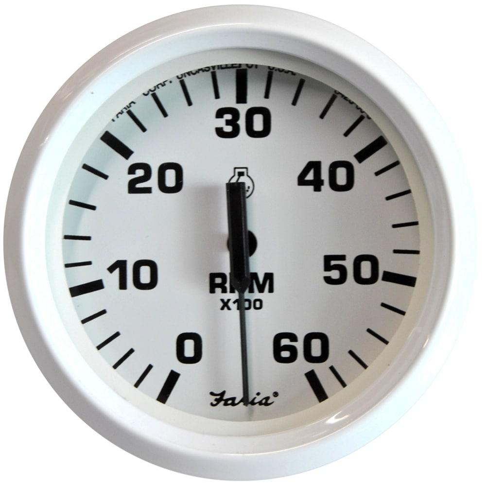 """7,000 RPM Faria Euro White 4/"""" Tachometer w//Indicators Gas - Outboard"""