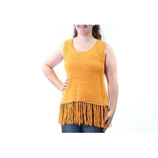 ONE A $36 Womens New 1441 Yellow Fringed Scoop Neck Sleeveless Sweater XL B+B