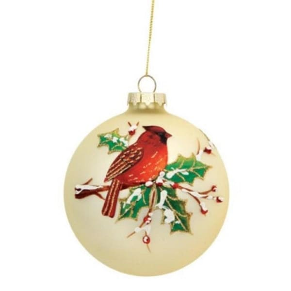 """Cardinal Bird with Snowy Holly Branch Glass Ball Christmas Ornament 4"""" (100mm) - silver"""