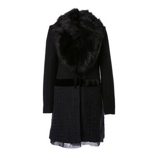 Vera Faux Fur Collar Wool Blend Ribbon Bottom Coat - XS