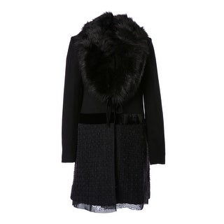 Vera Faux Fur Collar Wool Blend Ribbon Bottom Coat - XS