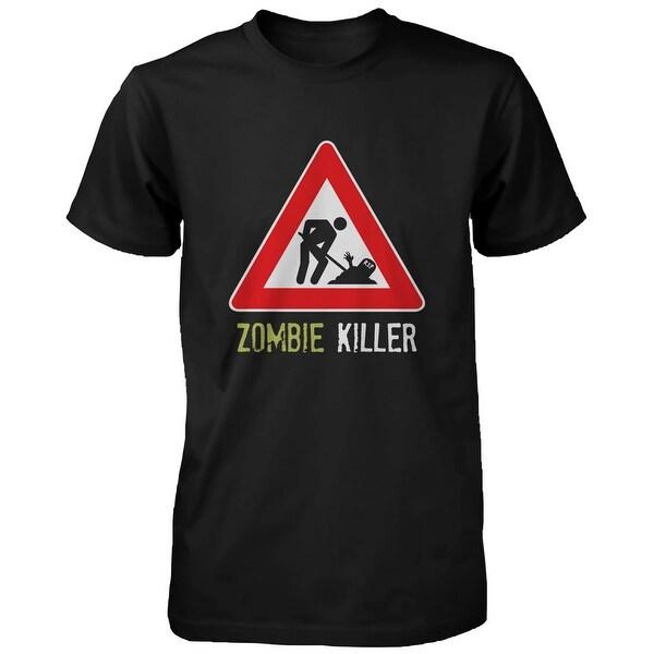 Zombie Killer Warning Sigh Men's Tshirt Funny Horror Halloween Black Tee Funny Shirt