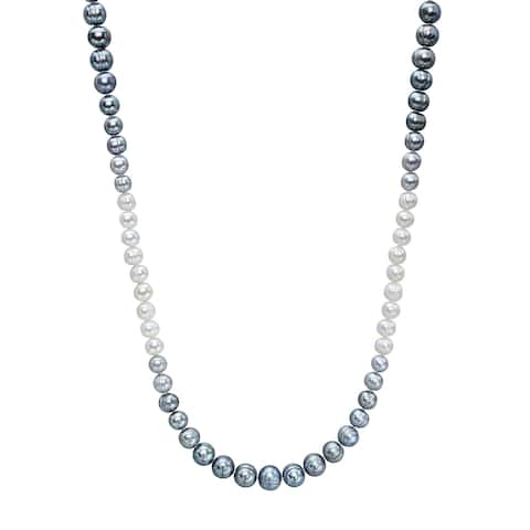 """Honora 7-11 mm Grey & White Ombré Freshwater Pearl Long Strand Necklace in Sterling Silver, 36"""""""