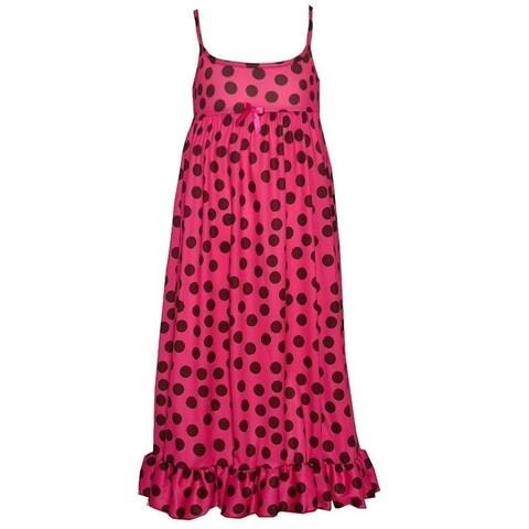 Little Girls Fuchsia Black Polka Dot Ruffle Hem Spaghetti Strap Nightgown