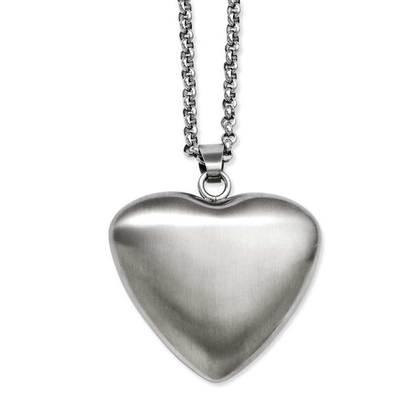 Stainless Steel Matte Finish Heart Pendant 24in Necklace (3 mm) - 24 in