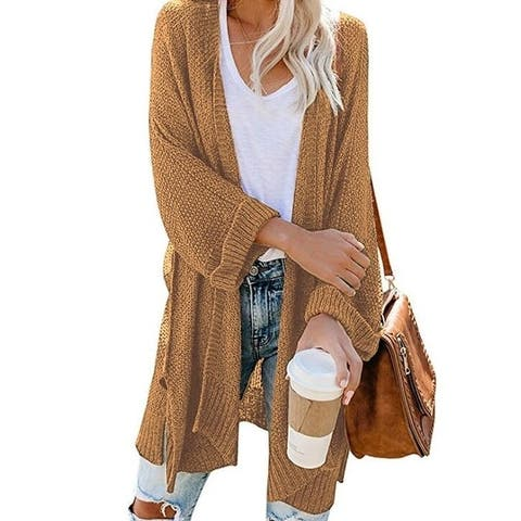 Women's Knit Sweater Open Front Cardigan Outwear With Pockets