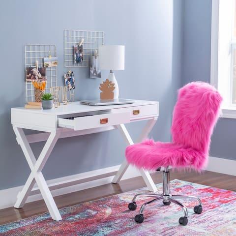 Poppy White X-base Writing Desk