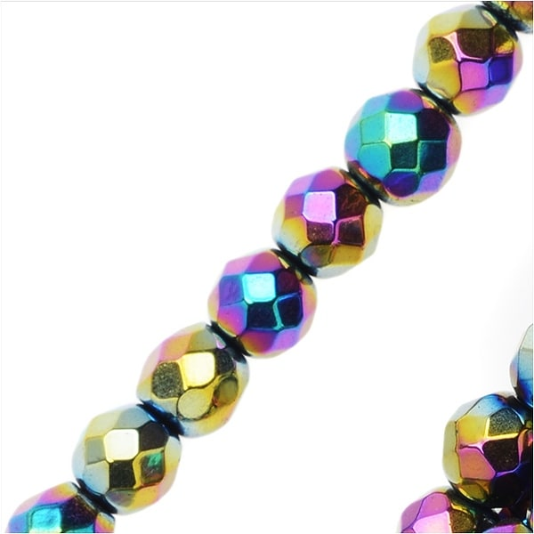 Hematite Gemstone Beads, 4mm Faceted Round, 16 Inch Strand, Metallic Rainbow