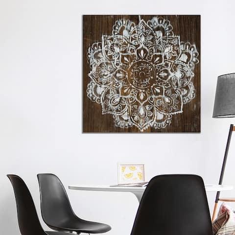 "iCanvas ""Mandala on Dark Wood"" by Danhui Nai Canvas Print"