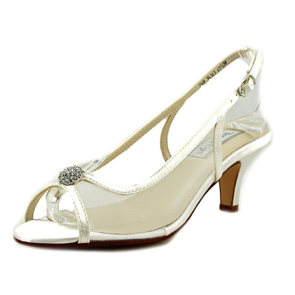 Touch Ups by Benjamin Walk ELITE Women Peep-Toe Canvas White Slingback Heel