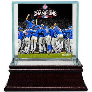 Chicago Cubs 2016 World Series Champions Celebration Image Glass Baseball Case
